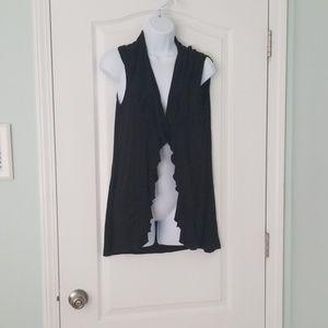 Black sleeveless ruffled cardigan